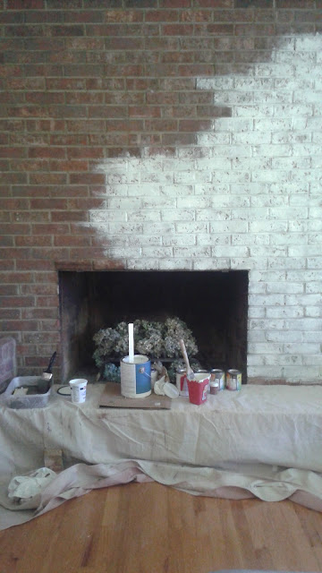 German smear type painted brick fireplace.