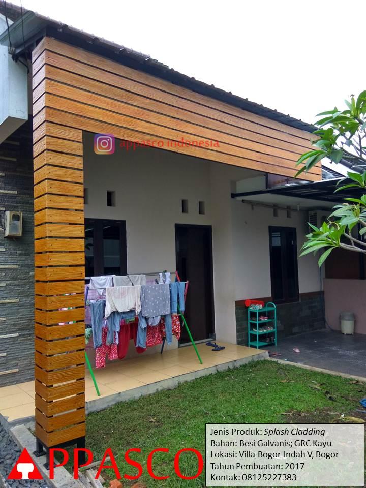 Splash Cladding Kayu GRC di Villa Bogor Indah
