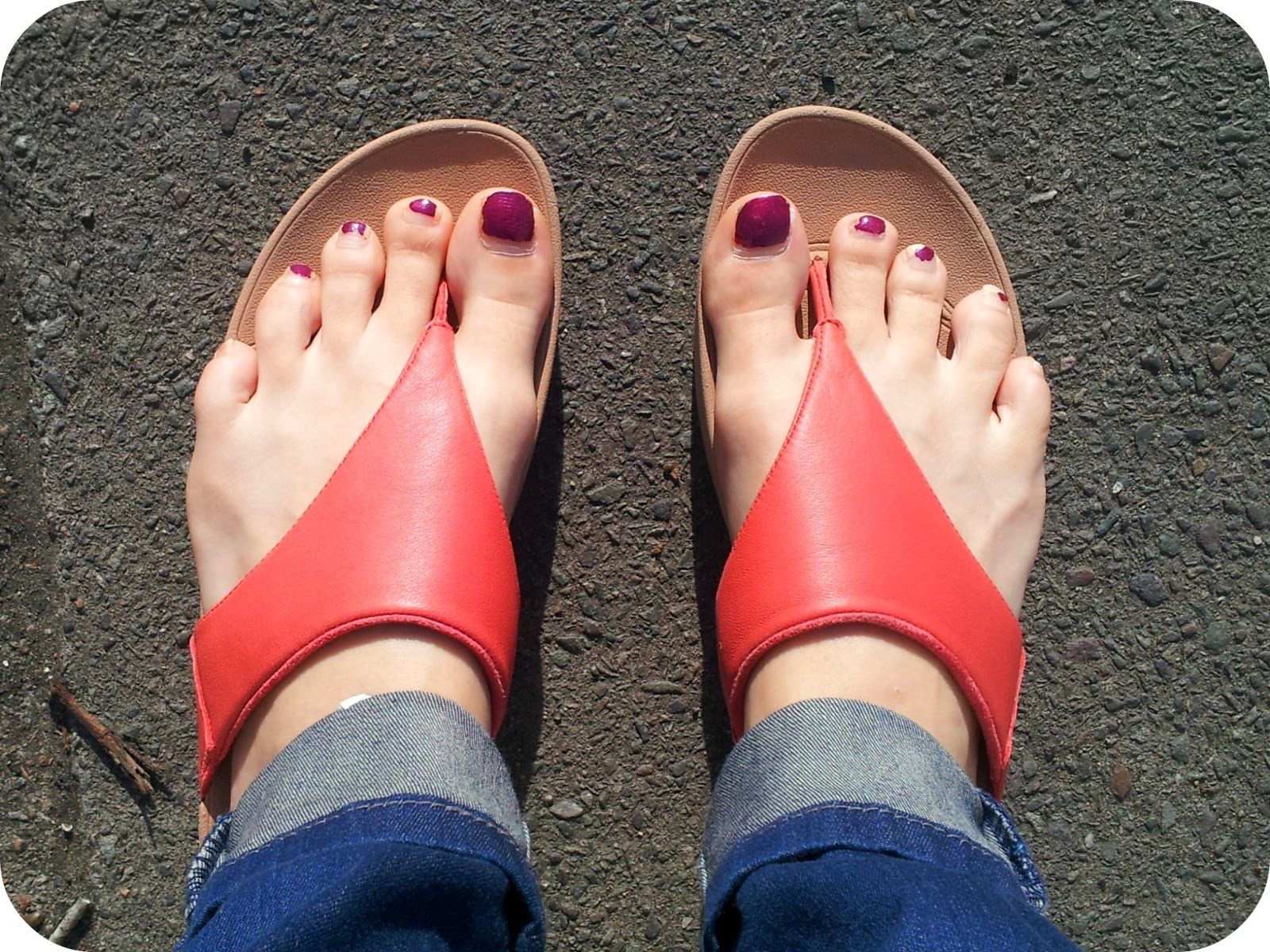 Think, that painted toenails and flip flops