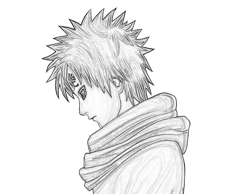 Pin Naruto Gaara Sketch Coloring Pages on Pinterest