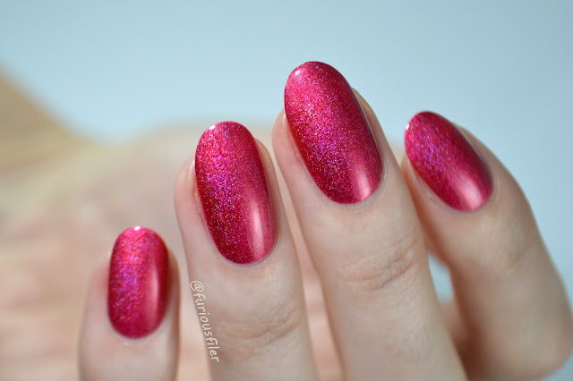 swatch red holographic nail polish furious filer a england