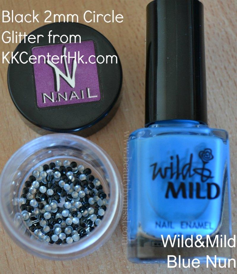 N.NAIL Studs Black 2mm Circle Nail Art Decorations, Wild&Mild Blue Nun