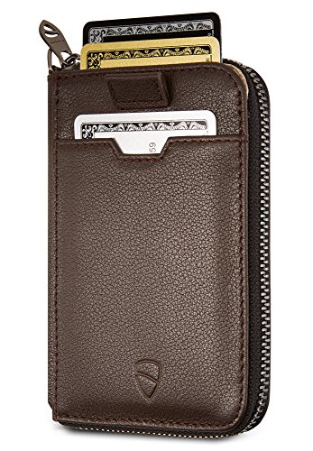 b697ac4e25e6 Vaultskin NOTTING HILL Slim Zip Wallet with RFID Protection for Cards Cash  Coins (Brown) 2019