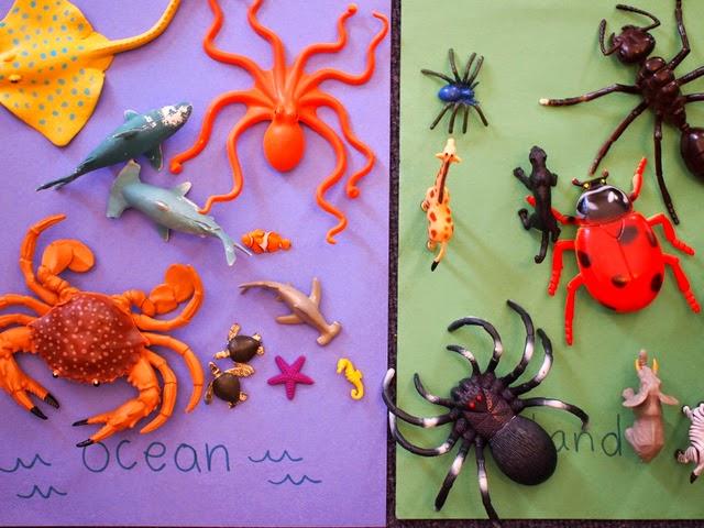 ocean vs. land animal sorting game for kids