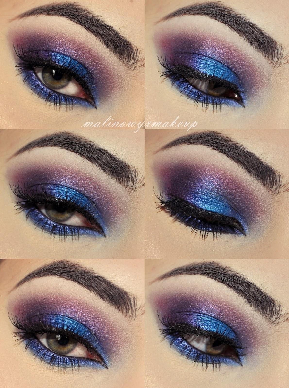 wieczorowy makijaż electric blue niebieski fiolet foletowy mocny czarny eyeliner kreska