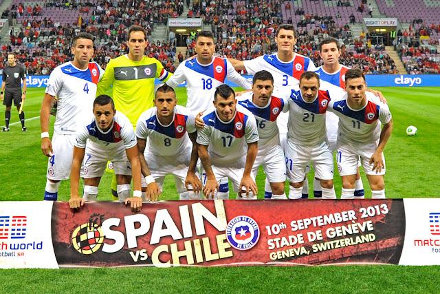 Formación de Chile ante España, amistoso disputado el 10 de septiembre de 2013