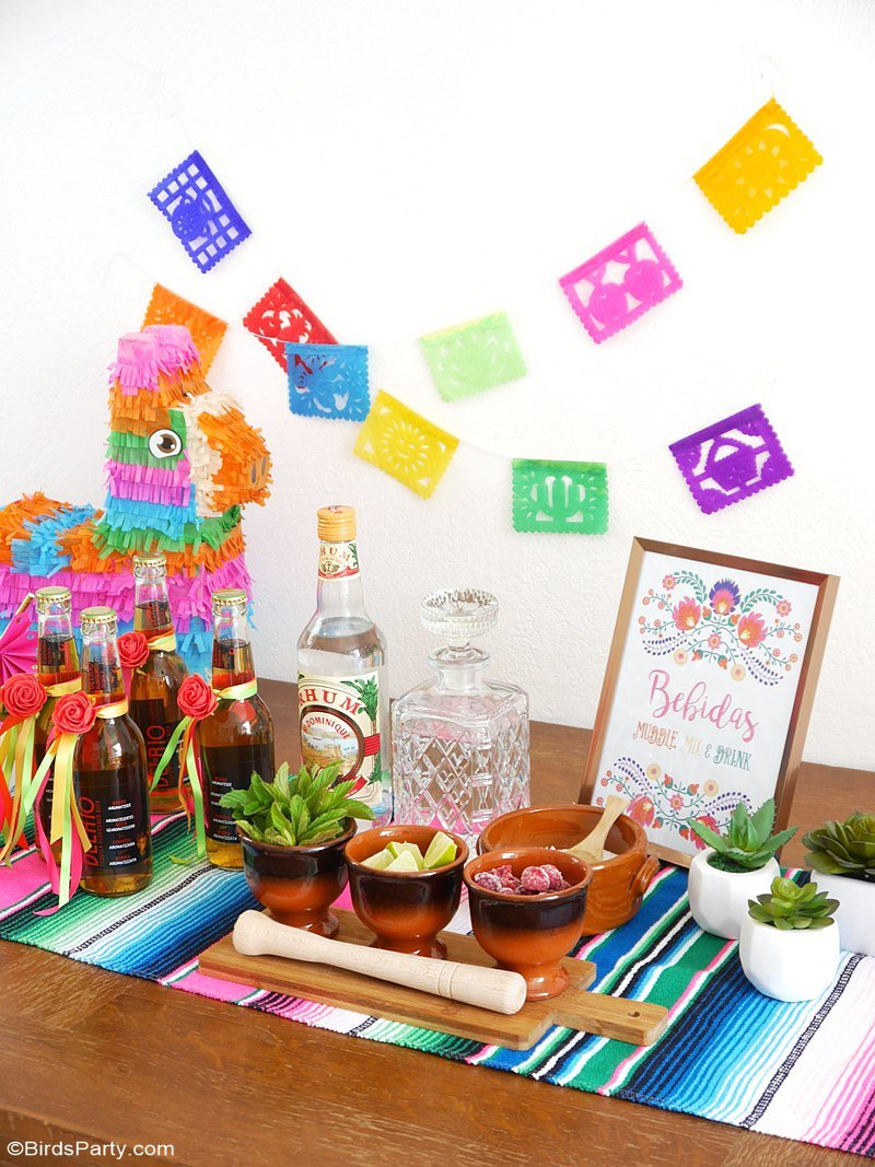 A Colorful Cinco De Mayo Mexican Fiesta With Diy Decorations Printables Food