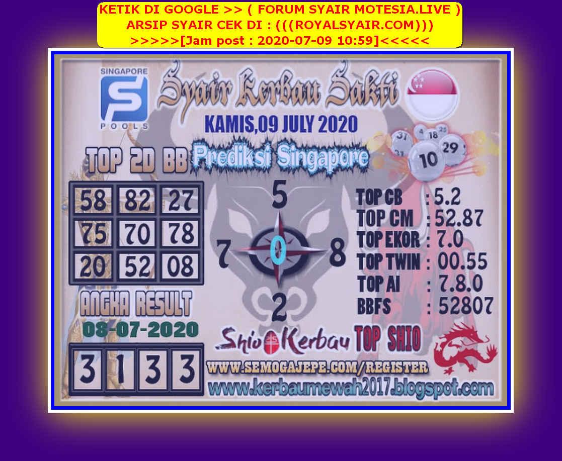Kode syair Singapore Kamis 9 Juli 2020 99