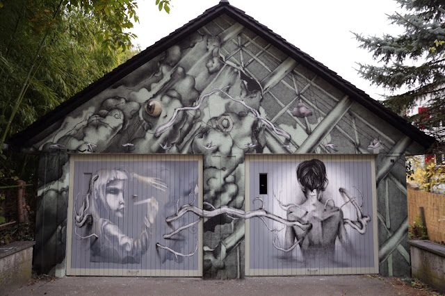 Claudio Ethos is still going around Europe where he recently stopped in Erlach, Switzerland to work on a new piece in collaboration with the Gallery Mayhaus.