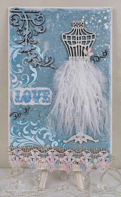 Wedding card by Tracey Sabella for Helmar: Fabric Glue, Leaky Shed Studio Chipboard, Dusty Attic Chipboard, Mixed Media, Shabby Chic, Maja Summer Basics