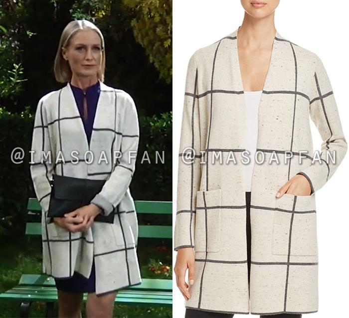 Cassandra Pierce, Jessica Tuck, Beige Windowpane Open Front Sweater Coat, General Hospital, GH