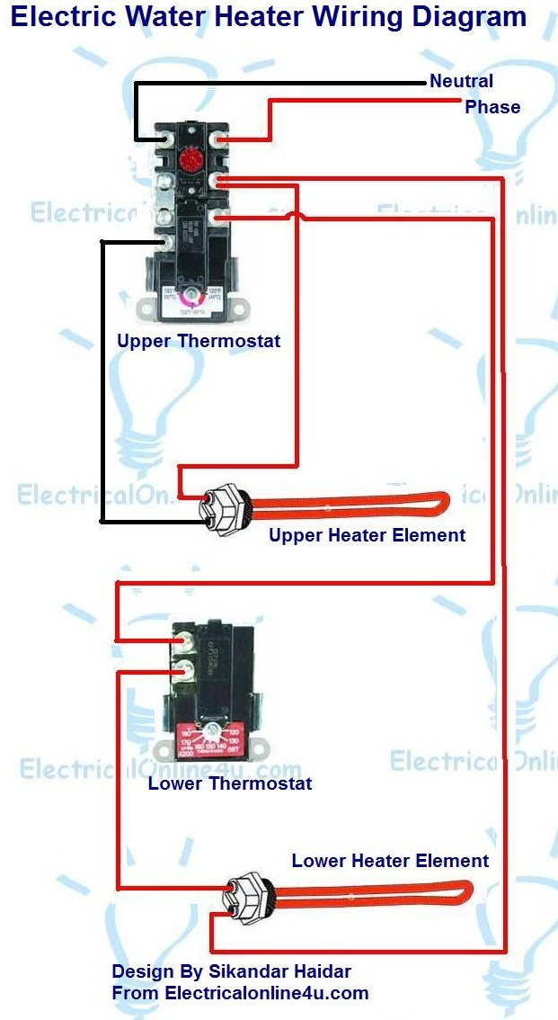 electric water heater wiring with diagram electrical online 4u rh electricalonline4u com electric baseboard heater wiring electric heater wiring schematic