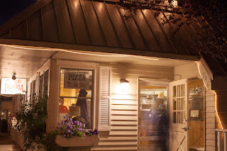 Pizzaria at night in Langley, Washington on beautiful Whidbey Island