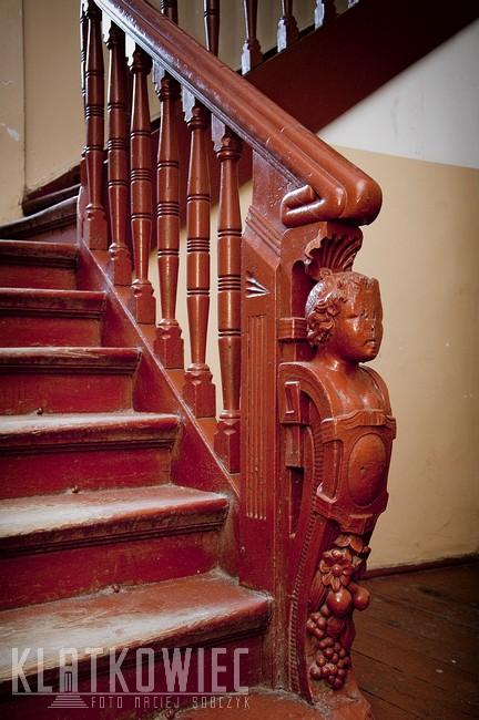 Gdańsk. Drewniana balustrada.