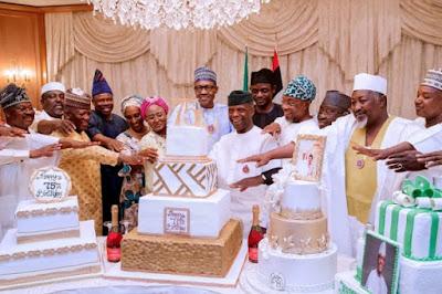 buhari - 9JA NEWS: #PMBAt75: Governors, Saraki, Dogara, Tinubu, Well-wishers surprise Buhari on his 75th Birthday
