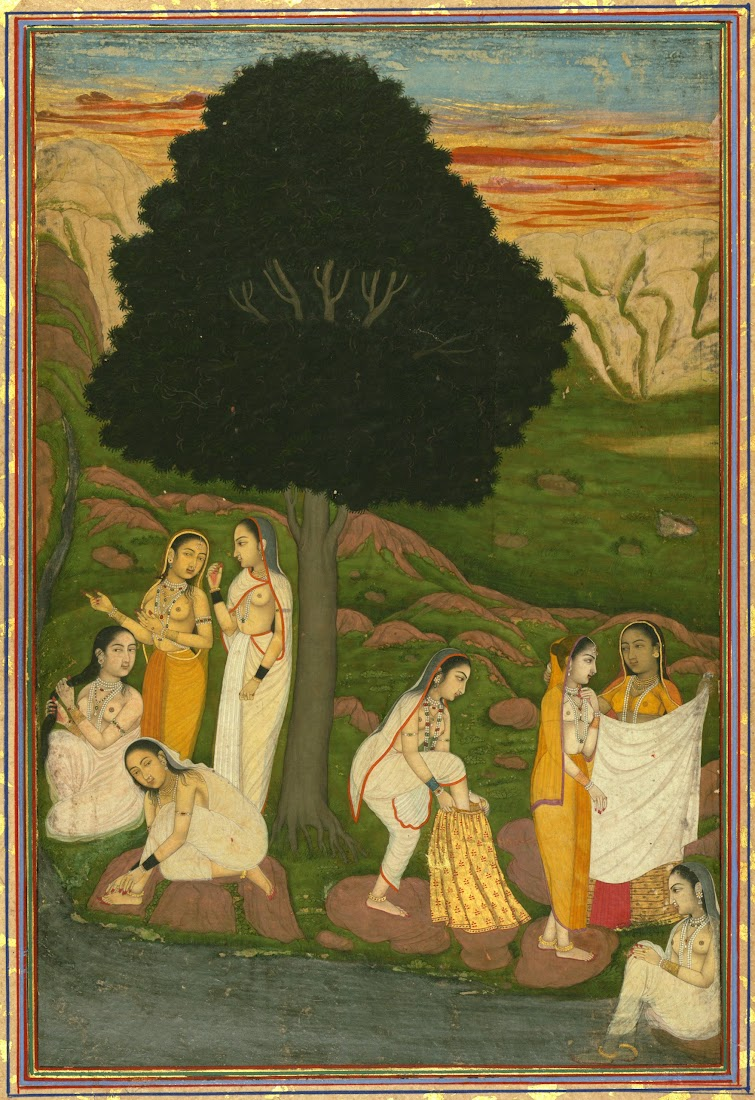 Women Bathing on the Bank of a River - Miniature Painting, India, Eighteenth Century