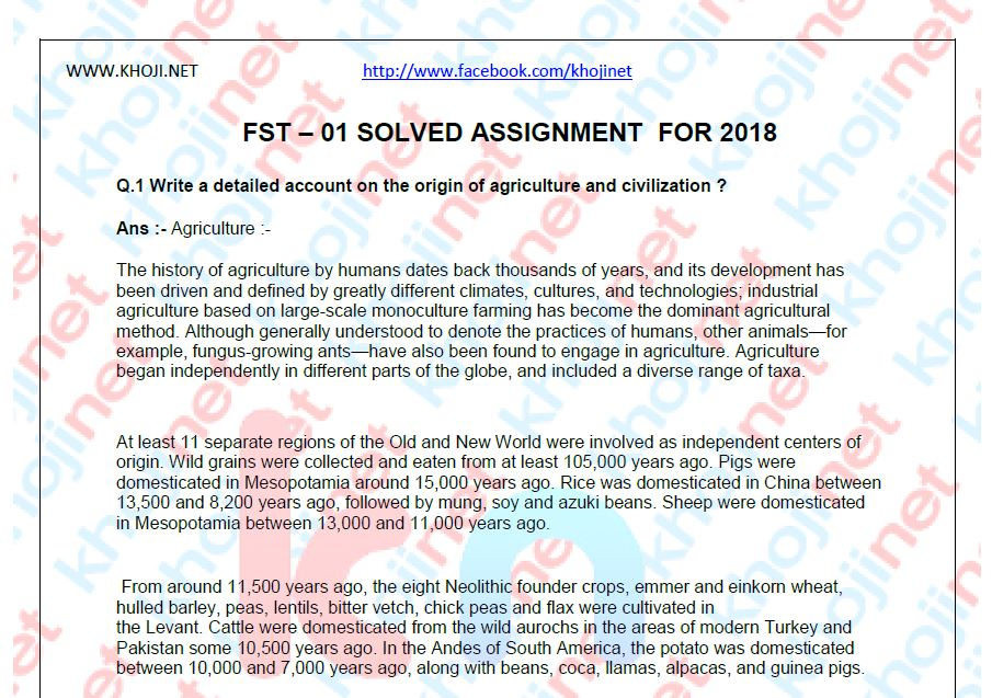 FST-01 Solved Assignment For IGNOU BDP 2018 Session
