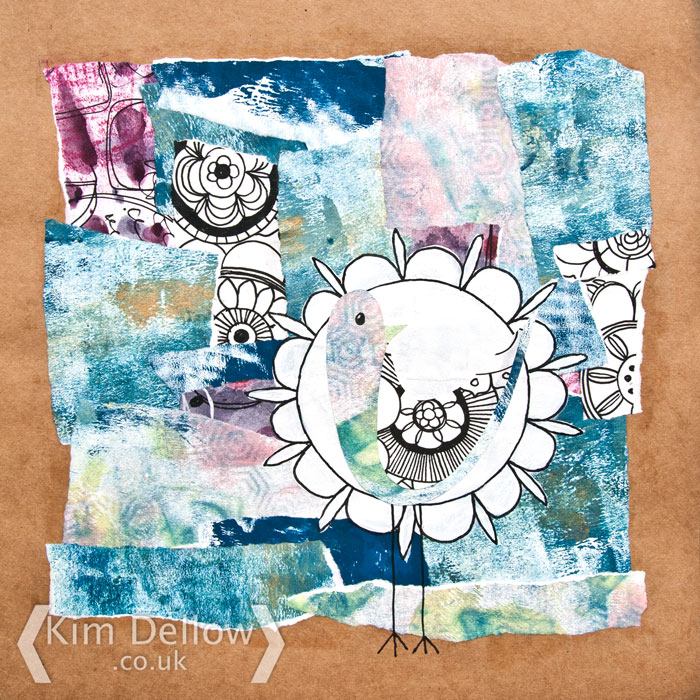 DIY Patterned Paper Art journal page by Kim Dellow
