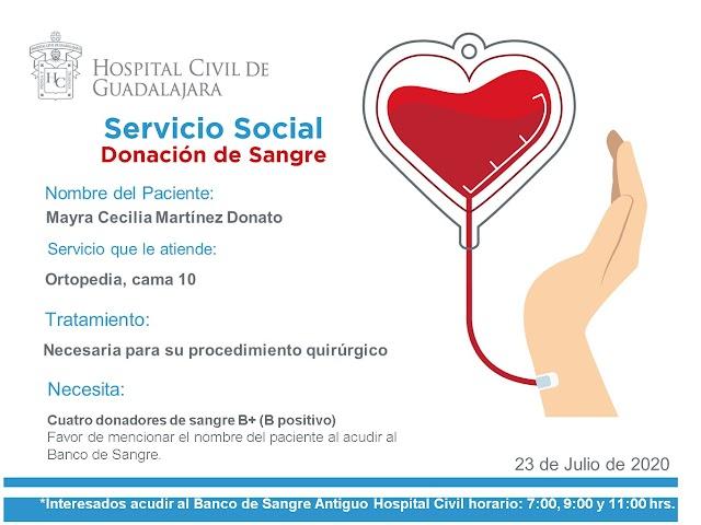"""Servicio Social de Sangre """"Urgente"""" para la paciente Mayra Cecilia Martínez Donato."""
