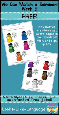 Snowman Matching Game Freebie Worksheets- Looks-Like-Language