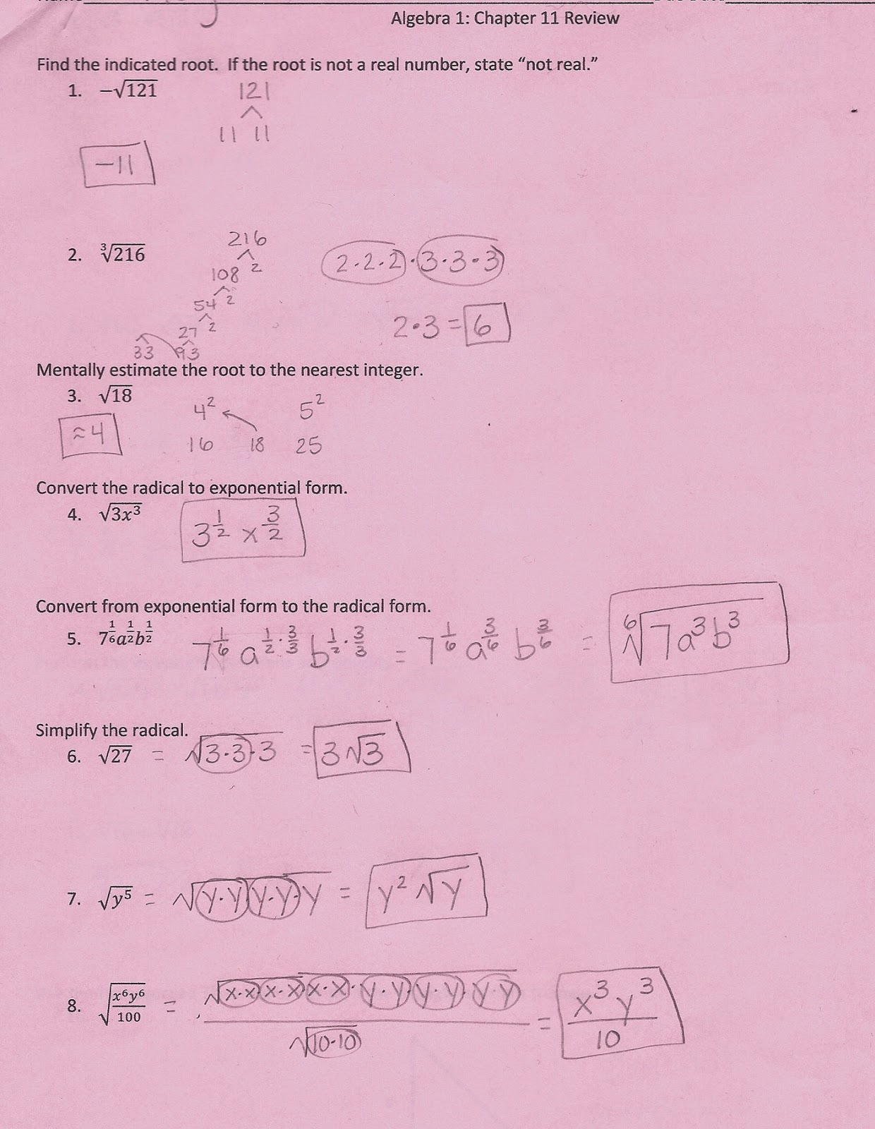 algebra 1 chapter 7 review answers