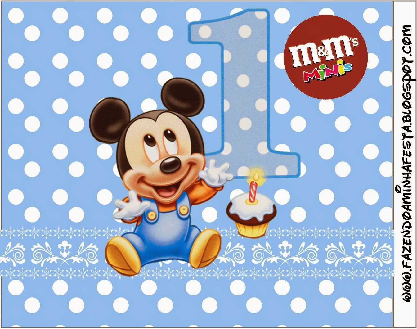 Free Printable M&M Candy Bar Labels for a First Year of Mickey with Polka Dots.
