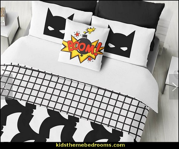 Comic Book Bat Bedding  batman bedrooms - batman bedroom decorating ideas -  batman furniture - batman murals - batman wall decals - batman bedding - batmobile bed - Batman room decor - batman pajamas -  batcave DC Comics Batman -  batman comics themed bedrooms -  Batman vs Superman Bedrooms - Superhero bedroom ideas -