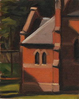 Oil painting of two small Gothic-style windows at the rear of a larger red brick church.