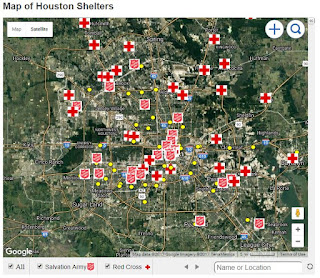 Map of Houston Shelters
