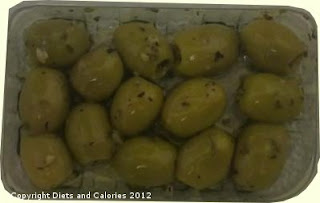 Graze snack green olives with basil and garlic
