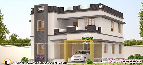 2252 sq-ft flat roof 3 bedroom home