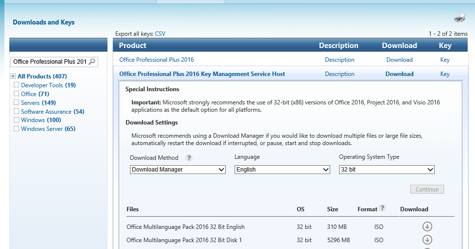 Add your Office 2016 KMS Keys to your Volume Activation Server