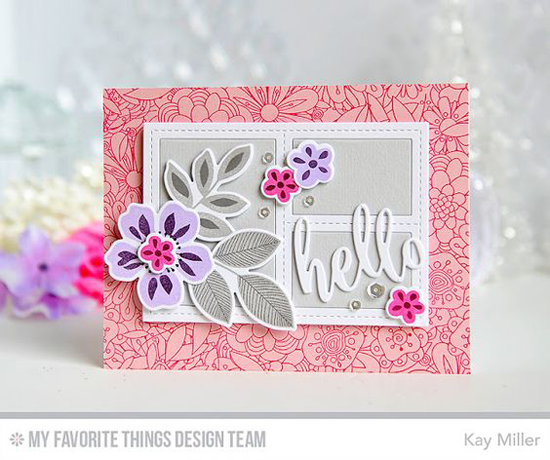 Handmade Card from Kay Miller featuring Bundles of Blossoms Background stamp and Blueprints 29 Die-namics #mftstamps
