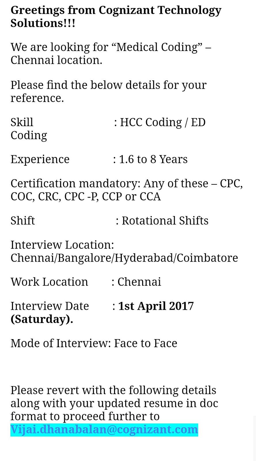 Medical Coding Jobs Cognizant Hiring Certified Hcc Ed Coders