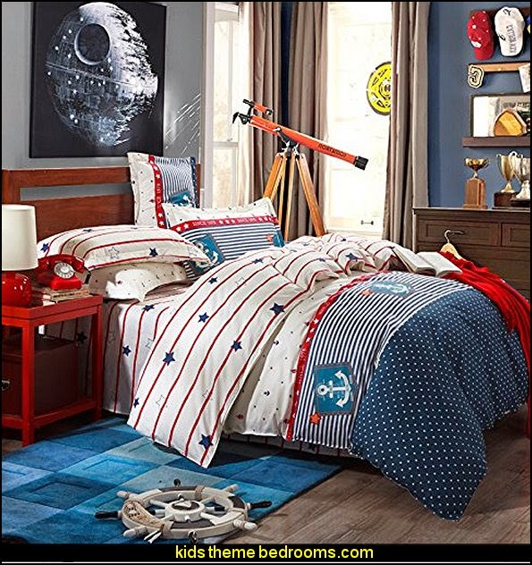 Cruising Travel Cotton Bedding  nautical bedroom ideas - decorating nautical style bedrooms - nautical decor - sailing ship theme - coastal seaside beach theme - boat beds - beach house decorating - Travelers and seafarers - nautical bedding - nautical bedroom furniture