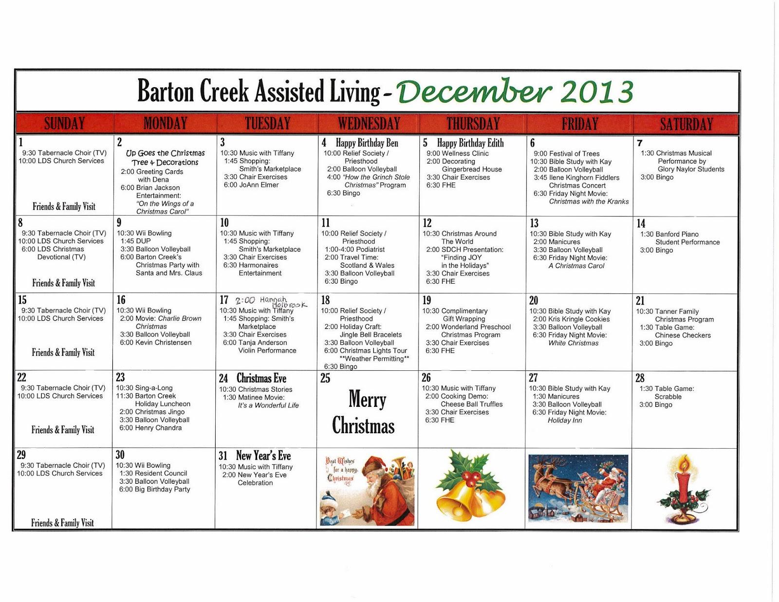 Barton Creek Assisted Living December Activities Calendar