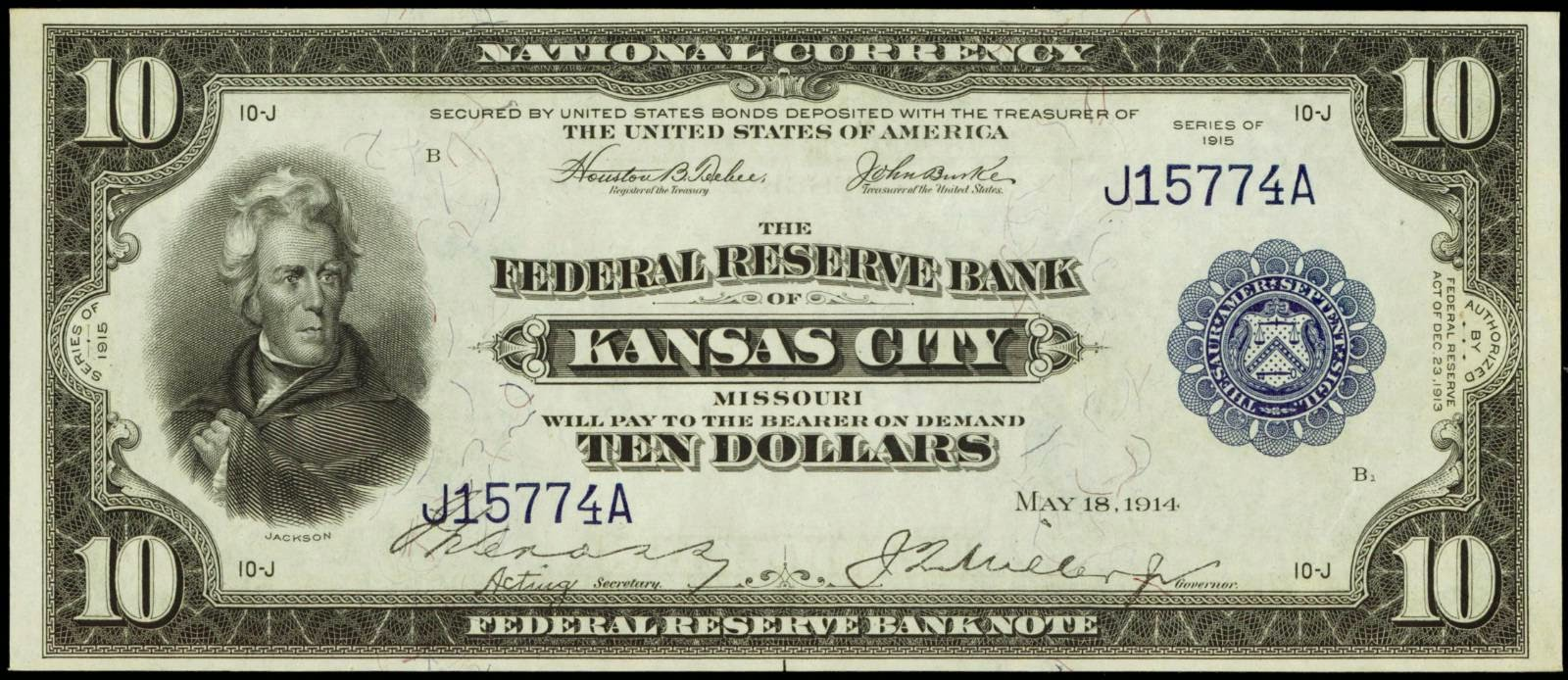 US currency 10 Dollar Federal Reserve Bank Note 1915