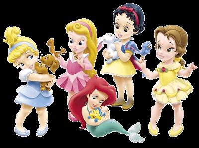 Clipart de Princesas Disney Niñas con sus Mascotas.