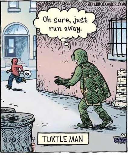 Turtle man cannot catch the thief