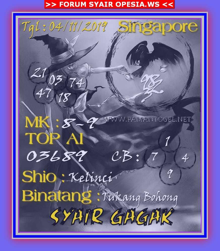 Kode syair Singapore Senin 4 November 2019 120