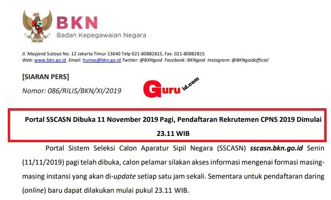 gambar jadwal pendaftaran online sscn bkn
