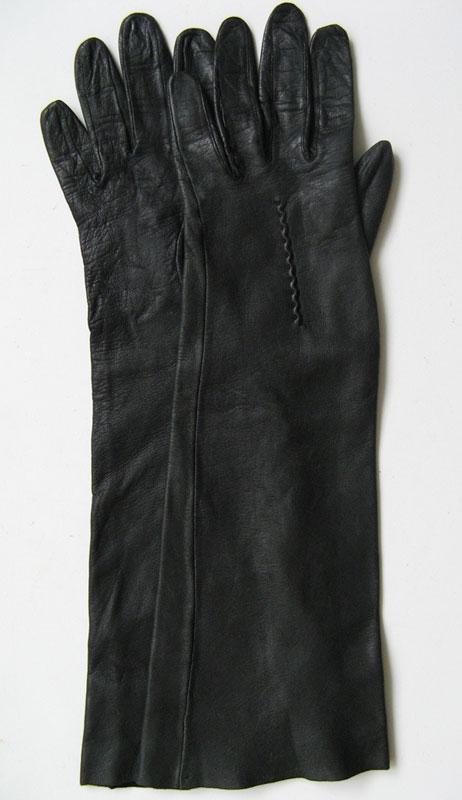 Vintage Long Leather Gloves Fetish Glove Black Leather