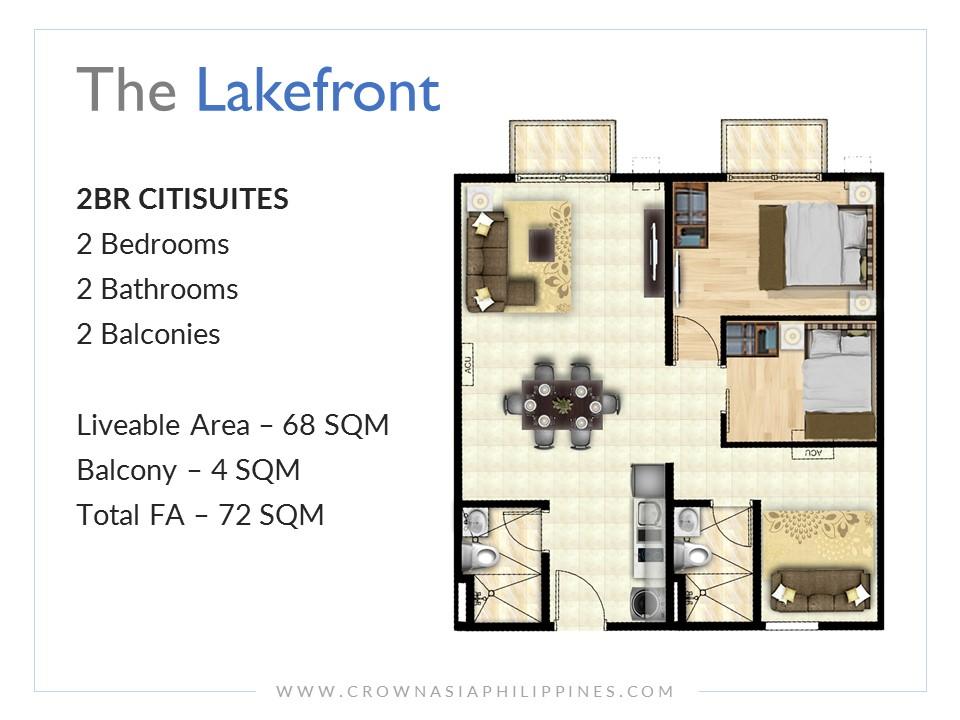 Crown Asia Philippines The Lakefront Santorini Citisuite 2 Bedroom Condominium For Sale Sucat