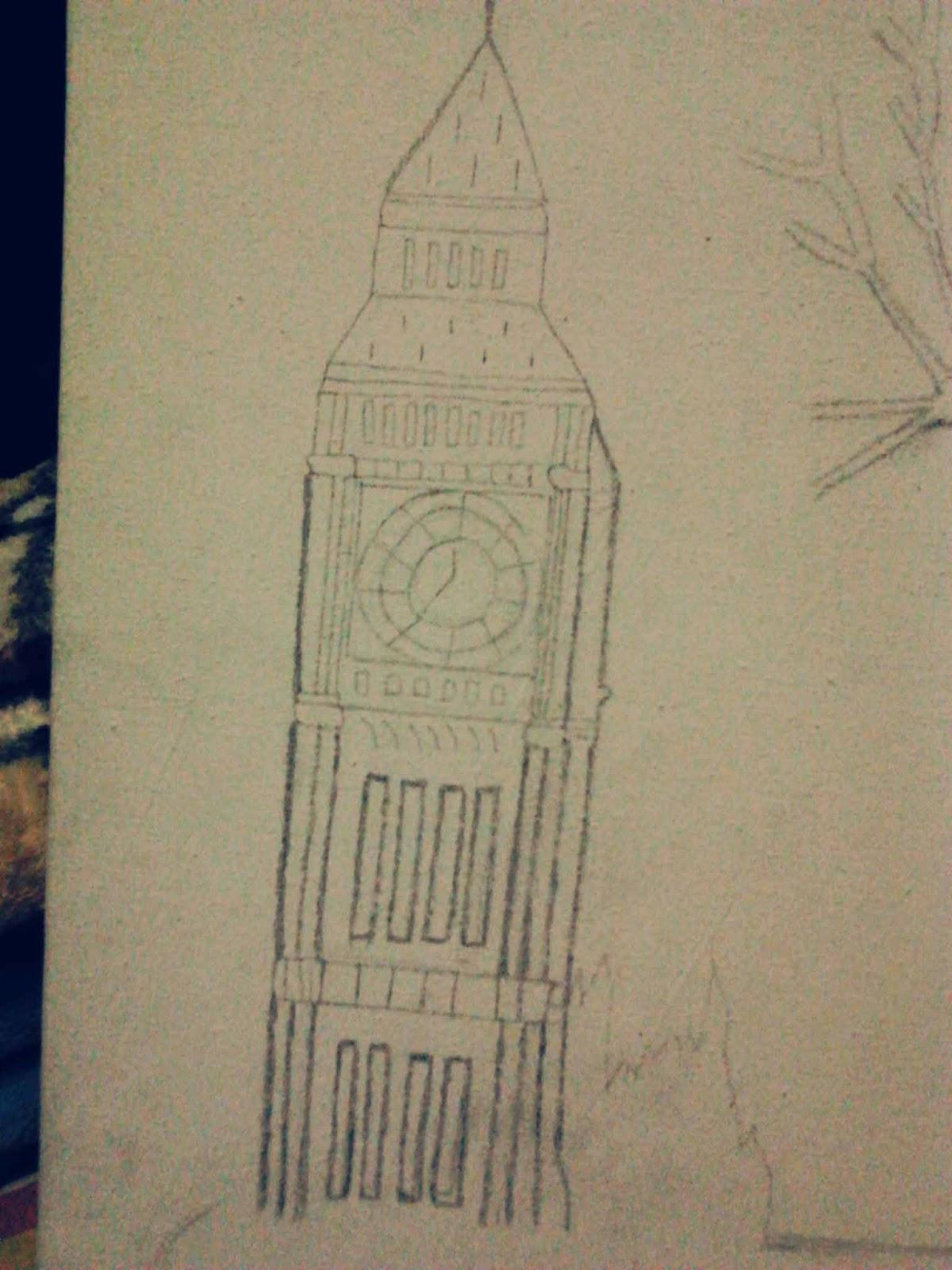 Gambar Sketsa Jam Big Ben