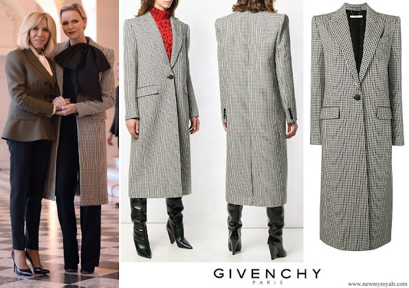 Princess Charlene wore GIVENCHY Houndstooth one button wool coat