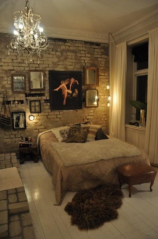Habitaciones con paredes de piedra dormitorios colores y - Colores tierra para habitaciones ...