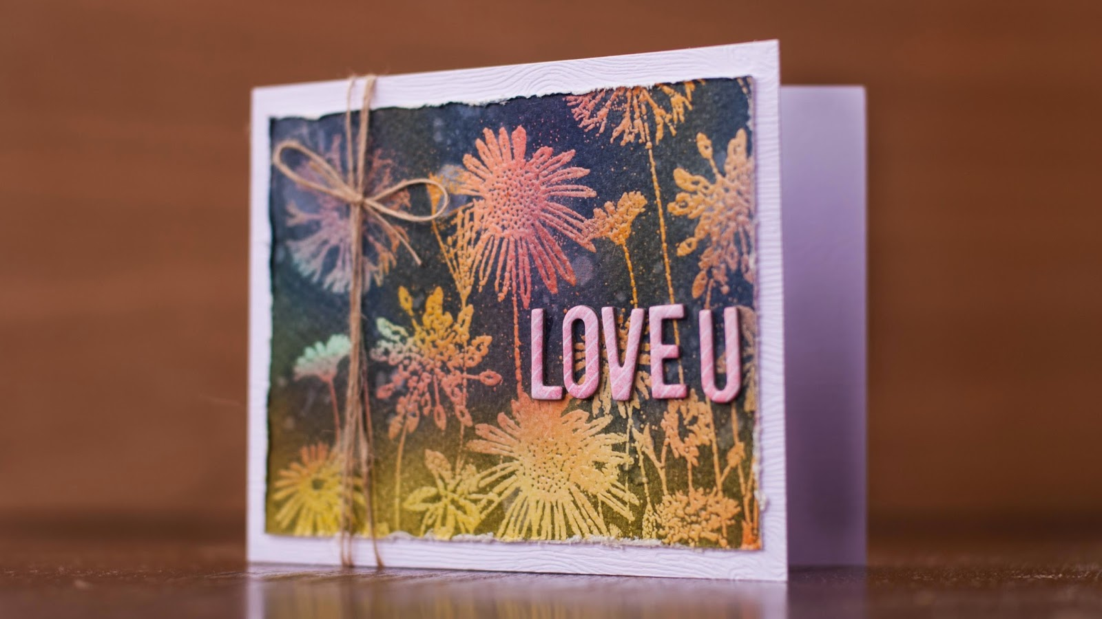 emboss resist with solid stamps - valentine card #4 - main image