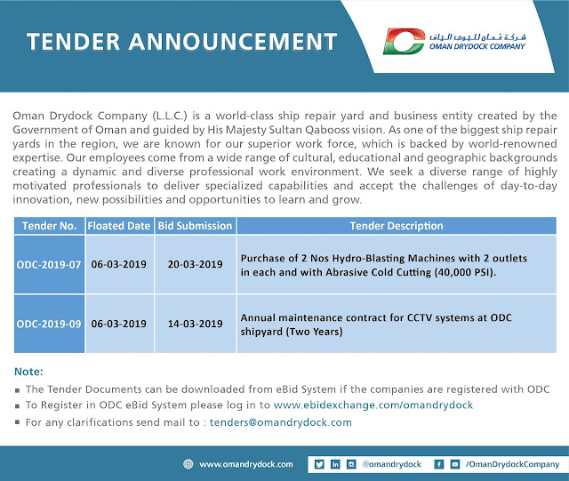 Tender announcement by Oman DryDock