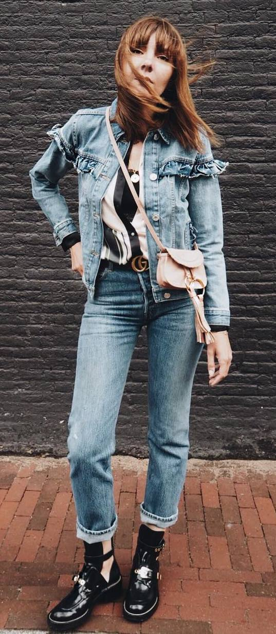 fashionable denim outfit : jacket + jeans + top + bag + boots