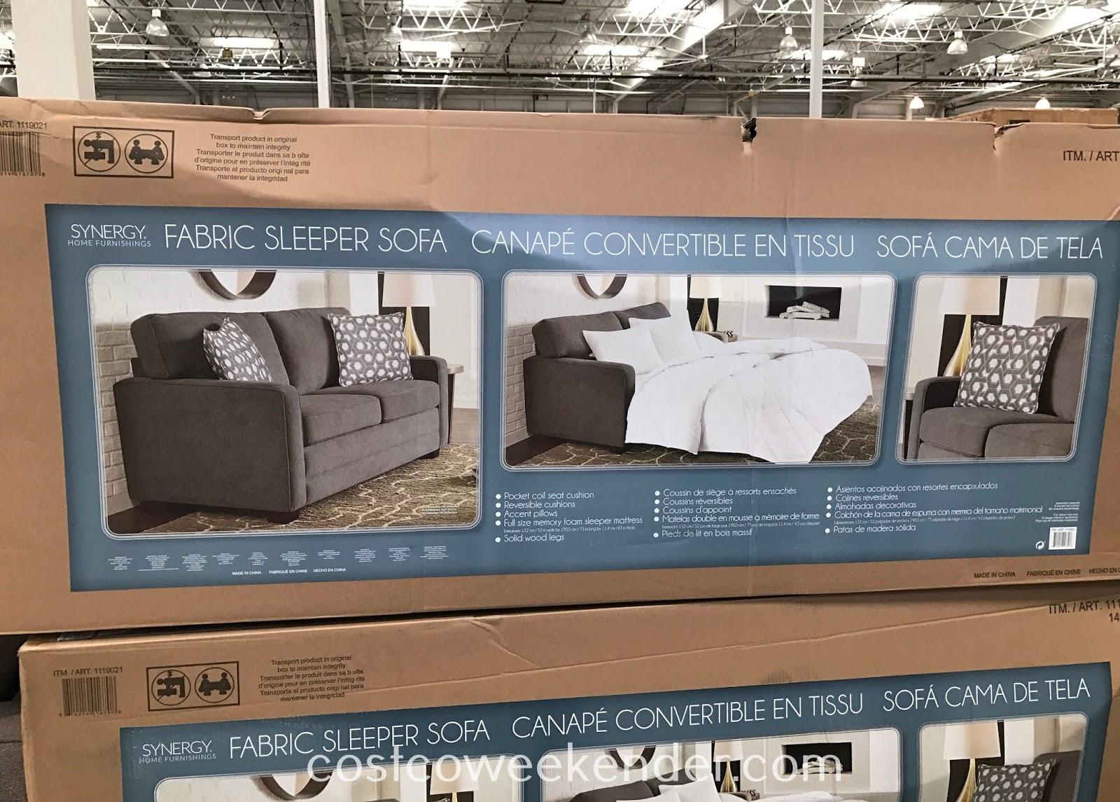 Costco 1119021 - Synergy Home Fabric Sleeper Sofa can be converted into a full size bed